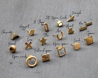 14K Gold Stud Earrings, 14k Gold Earrings, Solid Gold earrings, 14K gold earrings studs geometric, gold earrings set, Nickel Free earrings