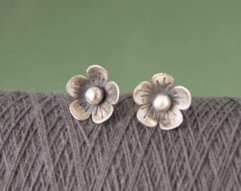 Flower Studs , Sterling Silver