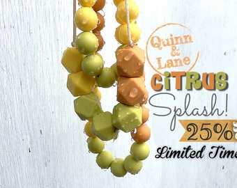 On SALE - Silicone Teething Necklace CHOOSE STYLE - Bite Beads Nursing Necklace  - Teether Chewing Beads - Chew Jewelry  - Citrus Splash