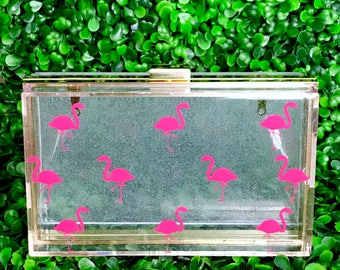 Flamingo Glitter Clutch | Boxy Clutch with Flamingoes and Bling Bling Glitter