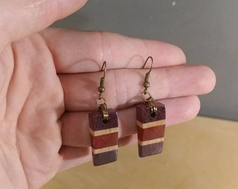 Wooden Wedge Earrings