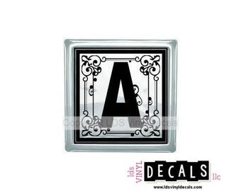 Decorative Alphabet - Vinyl Lettering for Glass Blocks - Monogram Craft Decals