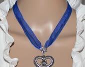 Dirndl necklace with rhinestone Edelweiss-heart, blue