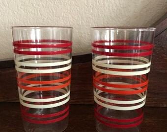 Two 50's drinking glasses red/orange/cream stripes