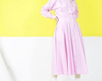 Pink Pinstripe Dress / 70s Collared Shirt Dress / Medium