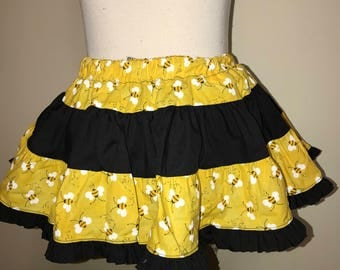 Extra full ruffle twirly black and yellow skirt Size 3T to 5T -- Ready to ship