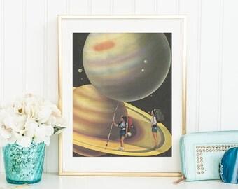 Planets illustration - Solar System print - Planets saturn poster - Nursery decor