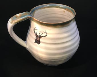 pottery mug ,cup stoneware ceramic with stag