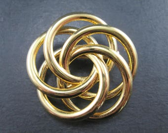 Vintage Napier Gold Tone Knot Swirl Brooch Pin Signed