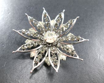 Vintage Layered Rhinestone Silver Tn 10 Point Star Brooch Pin Mid Century 50s