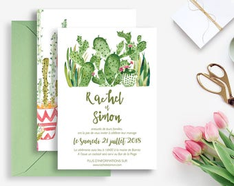 Printable Wedding invitation - Cactus Wedding invitation - Watercolor invitation - Wedding DIY - Boho wedding - Palm Springs -Cactus Wedding