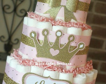 3 Tier Pink And Gold Princess Diaper Cake, Princess Baby Shower, Little  Princess,