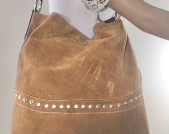 Maurizio Taiuti ,Large, Brown Suede Leather, Purse, Bag, Shoulder Bag