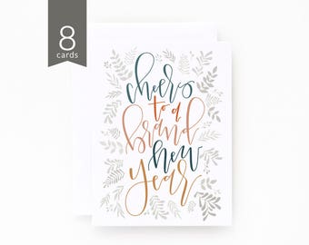 New Years Card Set of 8 | Hand Illustrated Botanical New Years Cards with Hand Lettered Calligraphy : Botanical New Year Card
