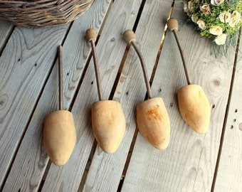 Wood Shoe Strechers - Set of 4 - Vintage Strechers - Pair of Shoe Forms - Wood and Metal - Shoe Tool - Cottage Home Decor