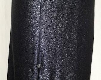 Slinky jersey lame black split side gray buttons old straight skirt