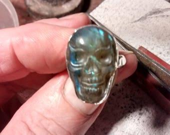 Carved Labradorite Skull Ring.Solid Silver and Semi-Precious Gemstone
