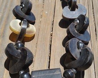Vintage Black Carved Horn Beaded Necklace