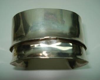 Sterling Silver Modernist Double Cuff Bracelet