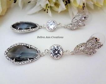 Grey Crystal Earring Grey Wedding Jewelry Gray Bridesmaid Bridal Jewelry Long Charcoal Gray Teardrop Earrings Mother of the Bride Groom Gift