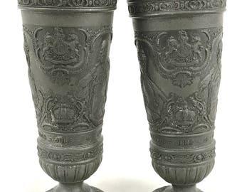 Antique Collectible Pewter Vases, Pair of Vases, Edward VII Coronation, 1902 Souvenir, Battered Antique, Distressed Look, Storage Pots, Rare