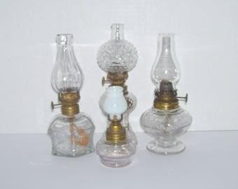 Lot of 4 Vintage Antique Miniature Glass Oil Lamps
