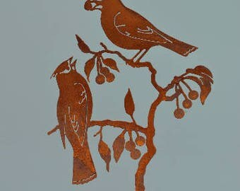 S929R Cedar Waxwing on Cherry Stake | Rusty Birds Outdoor Metal Garden Art by Elegant Garden Design