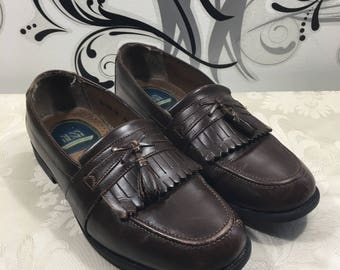 Men's loafers, Leather loafers, Tassel loafers, Men's leather shoes, Size 9 1/2 shoes, Slide on shoes, Men's wigtip shoes,