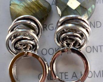 earrings, labradorite earrings, gray earrings, sterling silver earrings, bohemian earrings, boho chic earrings, Christmas for her, for her