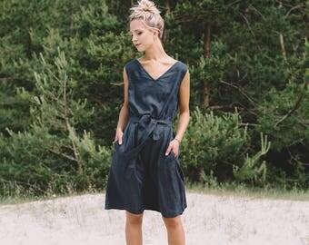 Summer linen dress/ V neck linen dress/ Summer dress/ Linen dress / Linen sundress/ Maxi dress/ Swing dress/ Linen tunic/ #30V DORI