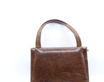 Vintage Snakeskin Handbag by Zumpolle, Vintage Handbag, Vintage Leather Handbag