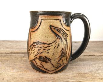 Badger Crest Mug 16 oz - Bookishness and Tea - Bookworm Gift Ideas - Literary Gift - Book Lovers Gift - Bookish Mugs - Large  Mug for Tea