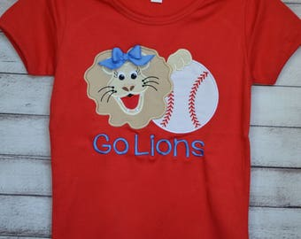 Personalized Baseball with a Lion or Bulldog Applique Shirt or Onesie Girl or Boy