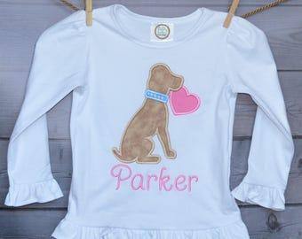 Personalized Valentine's Dog Puppy Heart Applique Shirt or Onesie Girl or Boy