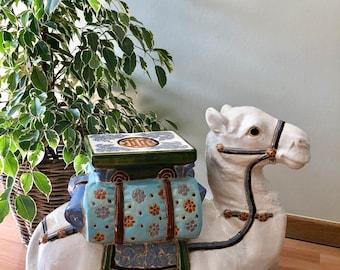 Terra cotta camel garden seat, ceramic camel plant stand, vintage ceramic camel figure, side table, ceramic stool