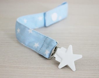 Blue Stars Pacifier Clip, Fabric Pacifier Clip, Soothie pacifier, Baby pacifier clip, Baby Boy pacifier, Paci Clip, Pacifier holder