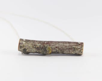 Latvian Natural Birch Wood Necklace with Silver color Chain. Eco friendly. Handmade in Latvia for nature lovers