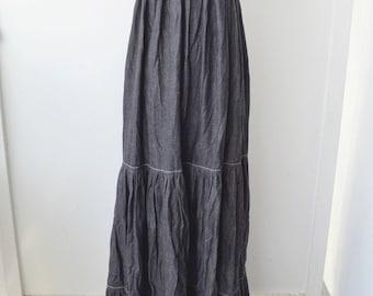 Vintage 90s Dark Denim Maxi Dress - Size Medium