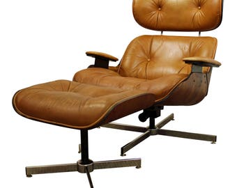 Mid-Century Danish Modern Selig Chrome/Leather Walnut Lounge Chair & Ottoman