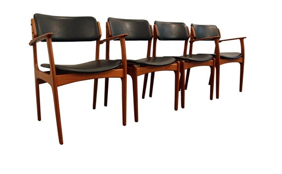 Mid Century Dining Chairs Danish Modern Teak Erik Buch OD