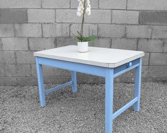 Vintage 1950s Formica Dining Table Pine Blue Grey