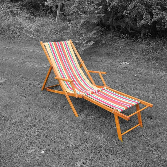 Vintage Steamer Sun Lounger - 1960s Garden Recliner Deck Chair