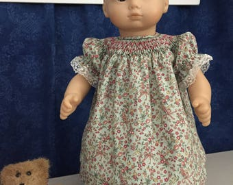 "Handsmocked bishop style dress for 15"" doll"