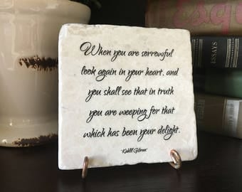 Memorial gift. Of joy and sorrow. Kahlil Gibran The Prophet Memorial Marble Plaque. Remembrance  In loving memory gift Sympathy Gift