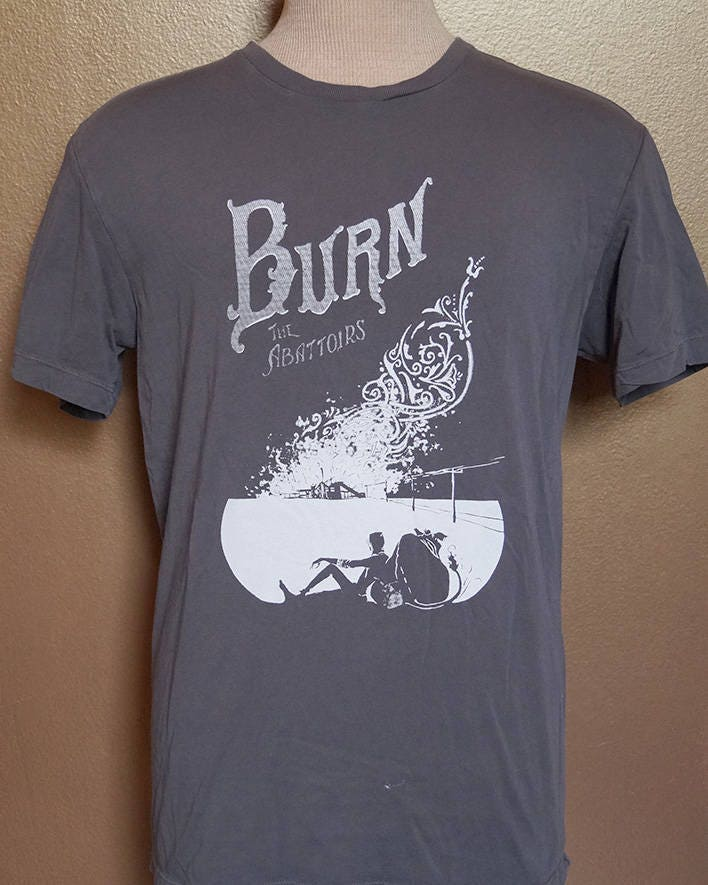 "Small ""Burn the Abattoirs"" Tee, White Ink on Gray"