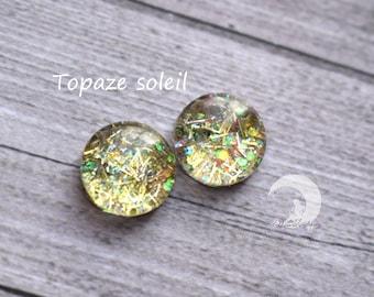 Glitter blind Eyechips Pullip and Yeolume glass - size 12 or 13mm - Topaz Sun - NEW!