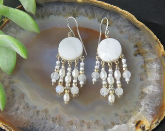 Peruvian Howlite Moonstone and Pearl Earrings