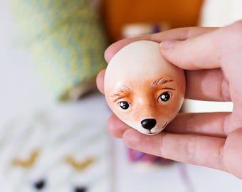 Sculpted doll heads, 5pcs DIY fox doll heads, plush doll making supplies, painted animal head, flat doll head, woodland doll faces