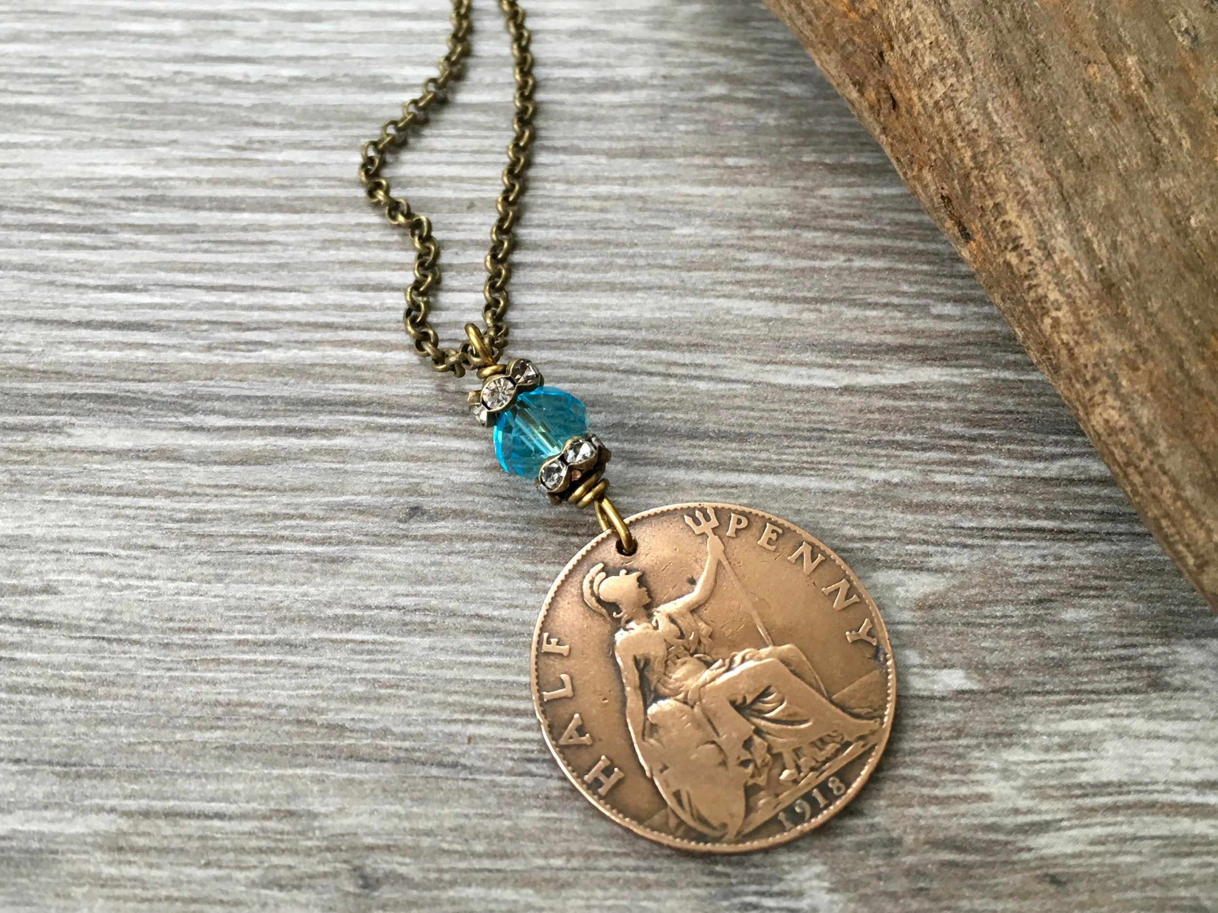 99th birthday gift 1918 coin necklace british half penny pendant uk