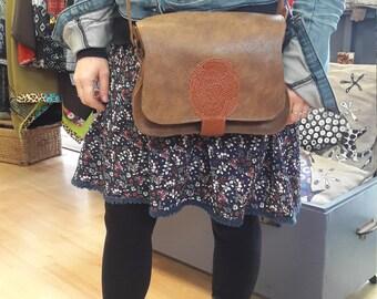 """Handmade shoulder bag, model """"Suzanne"""", 100% brown leather"""